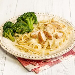 Grilled Chicken Alfredo with Steamed Broccoli Cutlets