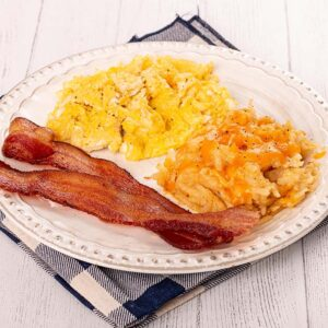 Two Fluffy Scrambled Eggs, Whole-Hog Bacon, and Hashbrown Casserole