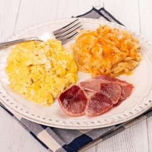 Two Fluffy Scrambled Eggs, Country Ham, and Hashbrown Casserole