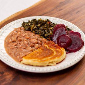 Pinto-Beans-Cornbread-Greens-Beets