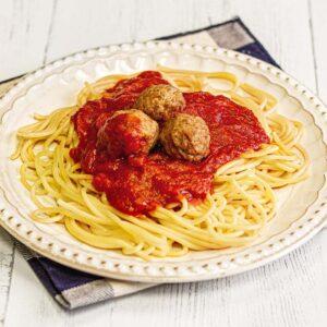 Homemade Meatballs Atop Spaghetti with Slow-Simmered Marinara Sauce