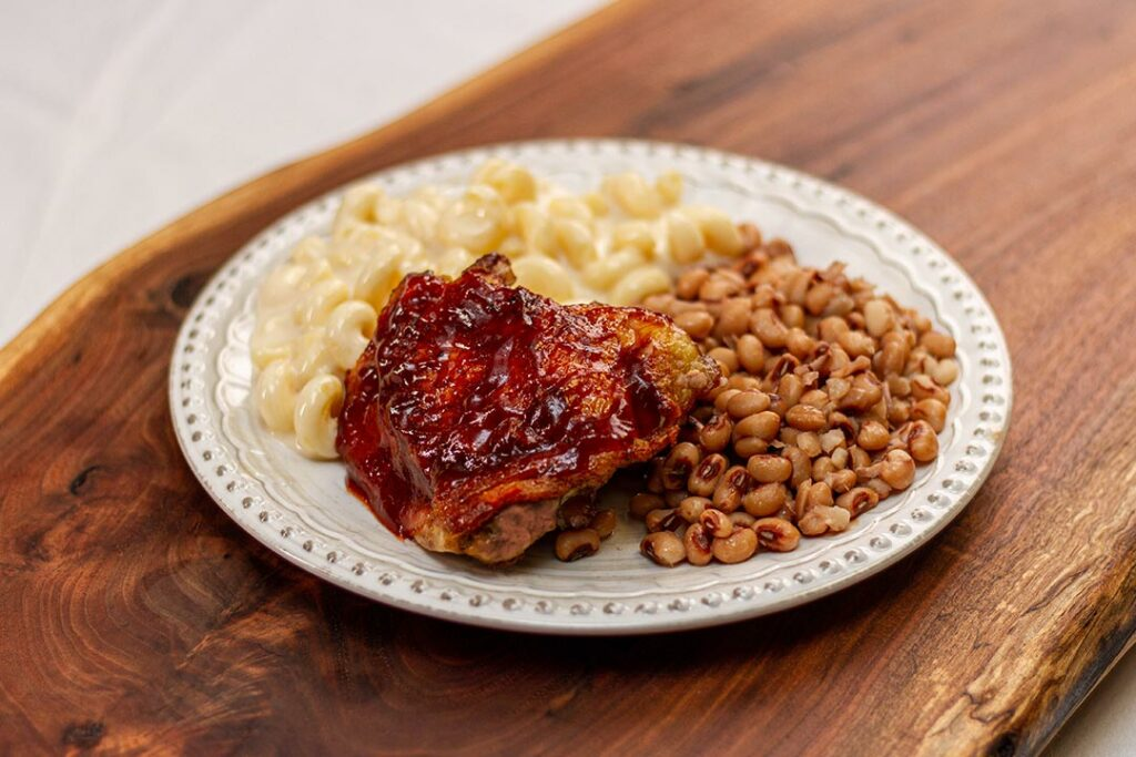James' BBQ Chicken Thighs, Mac & Cheese, and Black-Eyed Peas