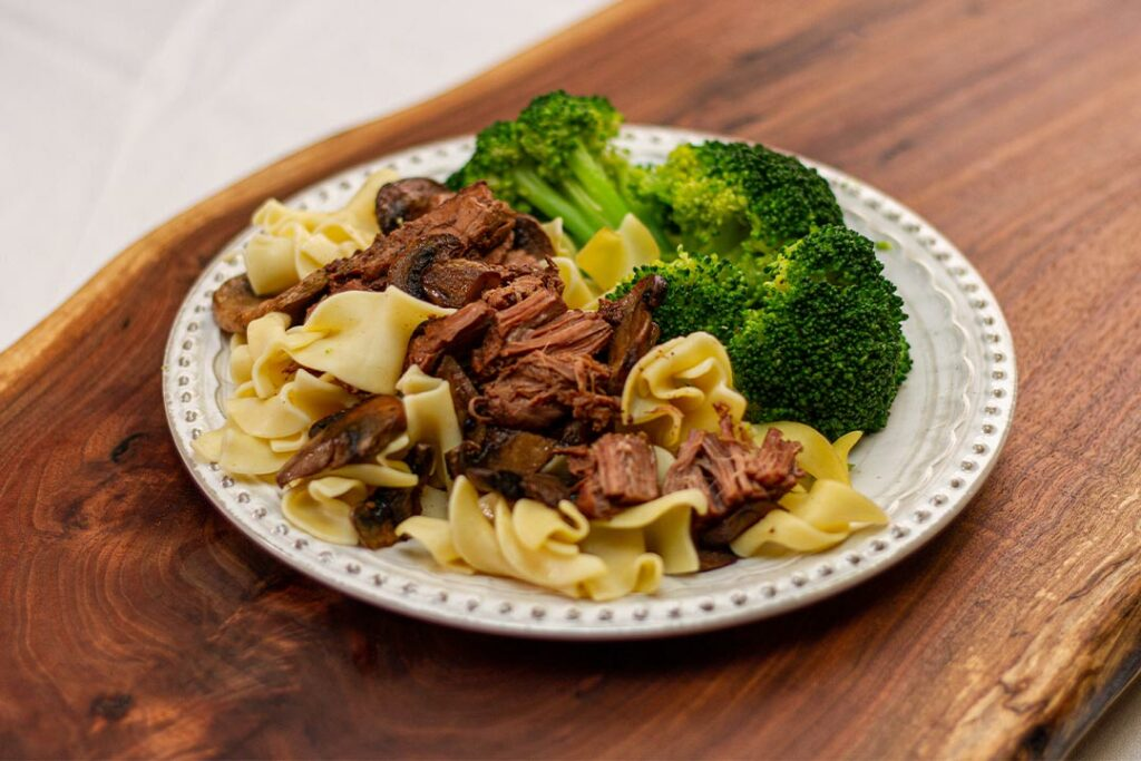 Nanny's Homemade Beef Tips w/ Noodles, and Broccoli Cutlets