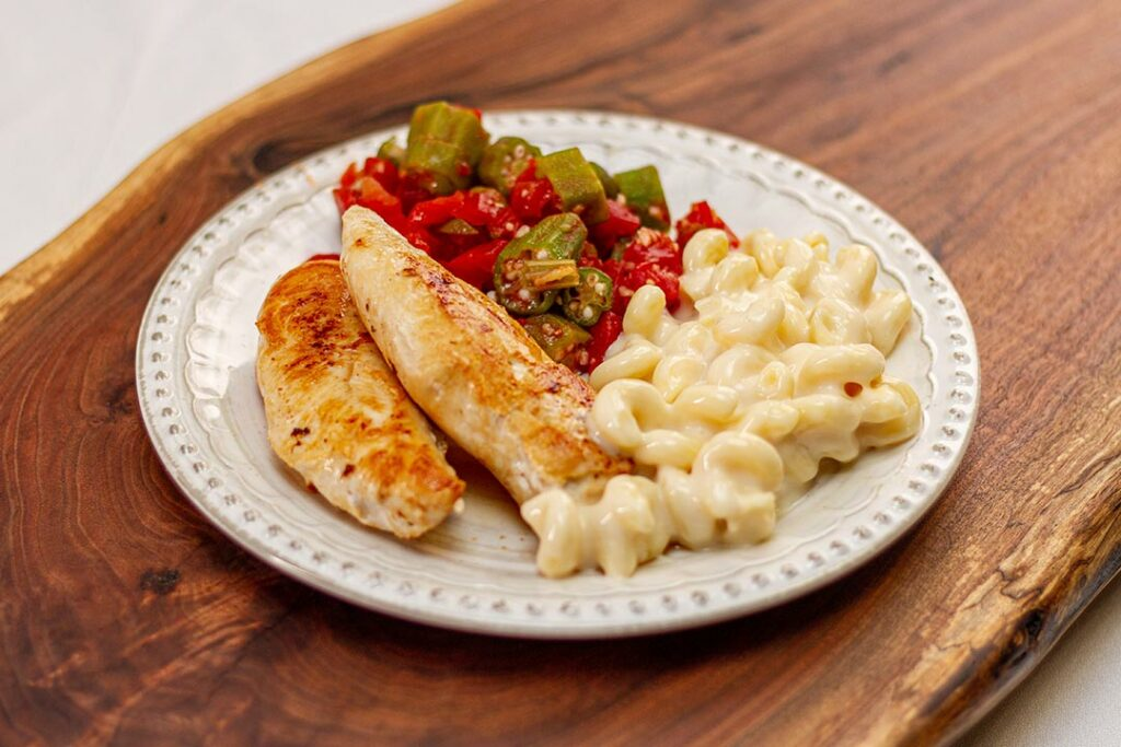 Grilled Chicken Tenders, Okra & Tomatoes, and Mac & Cheese