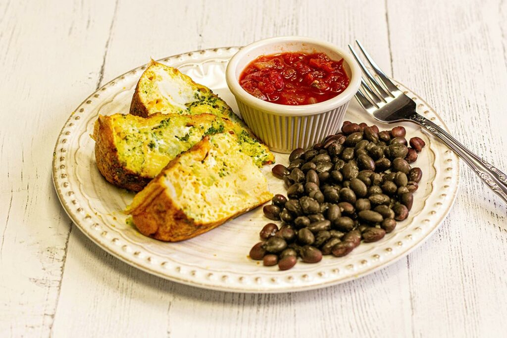 Frittata, Black Beans, and Salsa