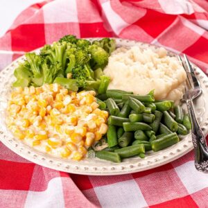 Summer Vegetable Plate with Green Beans, Broccoli, Mashed Potatoes, and Creamed Corn