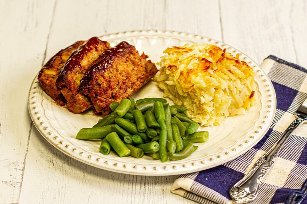 Aunt Midge's Meatloaf with Crispy Hashbrowns and Country Green Beans