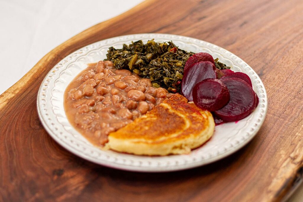 Pinto Beans w/ Hot Cake, Collard Greens, and Pickled Beets