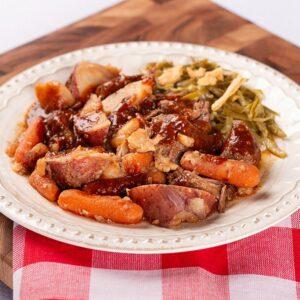 Pot Roast with Savory Gravy Potatoes, Carrots, and Green Bean Casserole