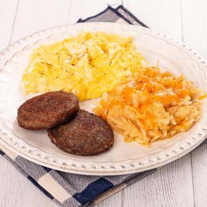 Two Fluffy Scrambled Eggs, Smoked Breakfast Sausage, and Hashbrown Casserole