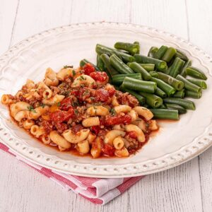 Gabbie's Goulash with Seasoned Ground Beef, Diced Tomatoes, and Elbow Macaroni with Seasoned Green Beans