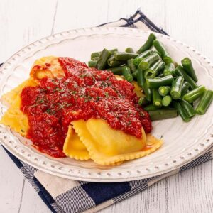 Ricotta Cheese Ravioli with Seasoned Green Beans